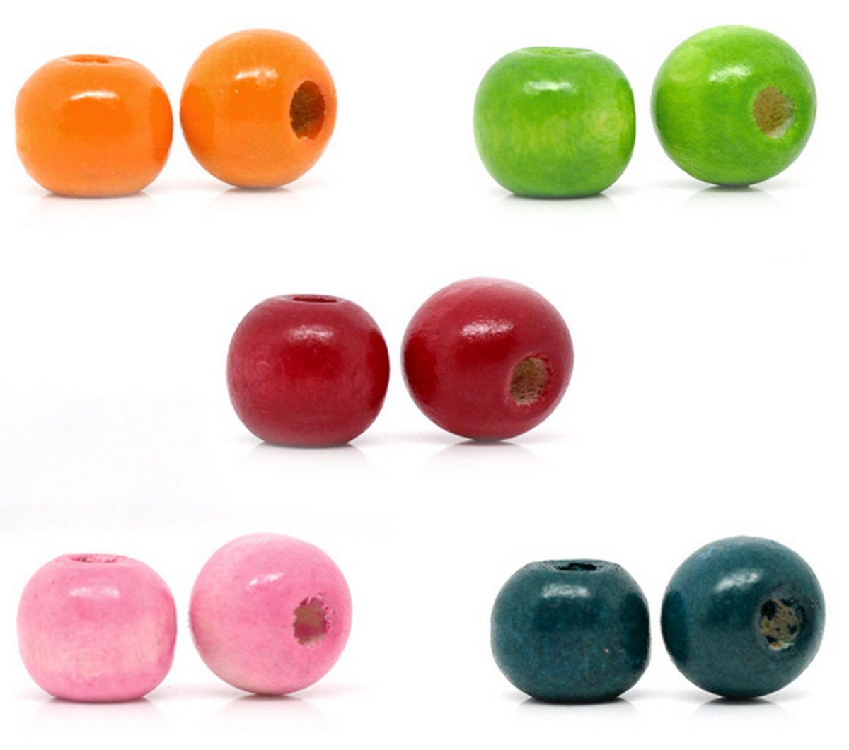 Housweety 100 Mixed Painted Drum Wood Spacer Beads 17x16mm (style 1-100pcs) HOUSWEETYB07158-F