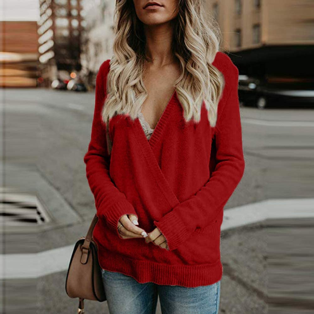 Anmain Donna Manica Lunga Maglione Solido Scollo V Camicetta Casuale Camicia Cime Camicetta Elegante Slim Fit Top Sciolto Irregolare Tunica