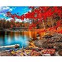 DIY数字油絵 風景 秋の山 赤いカエデの葉 絵画 初心者 子供 大人 塗り絵 手塗り ホーム オフィス装飾 40x50cm (6)