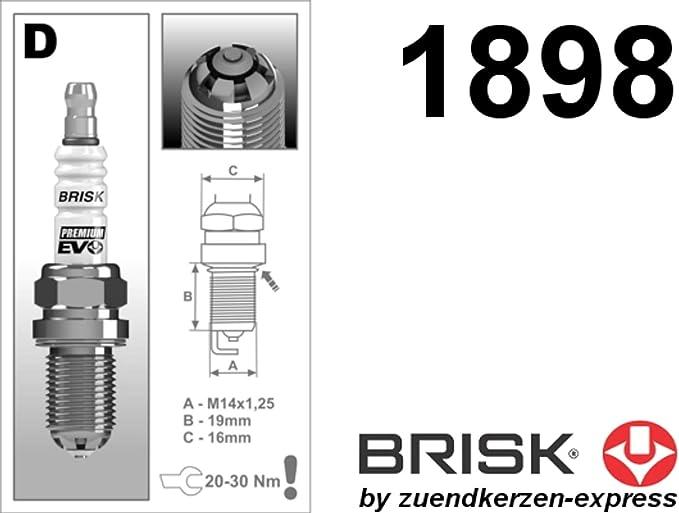 Brisk Premium Evo Dr15sxc 1898 Zündkerzen 4 Stück Auto