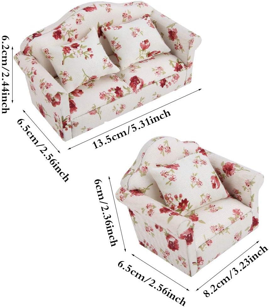 Jingyi Divano per casa delle Bambole Accessori per casa delle Bambole in Scala 1//12 Set di divani Mini mobili con Motivi Floreali con Cuscini Posteriori Set di divani per casa delle Bambole #1
