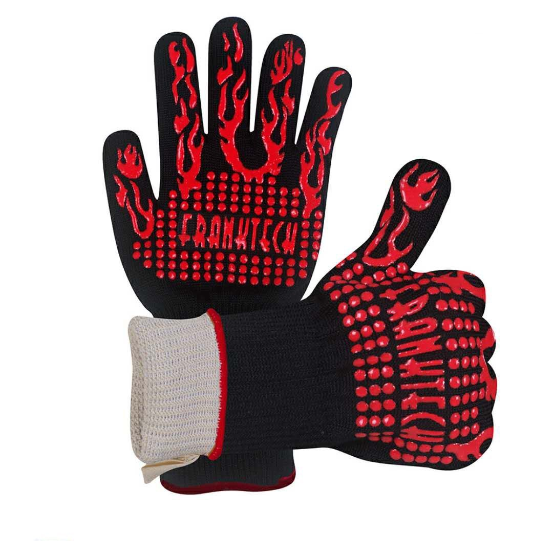 Franktech BBQ Gloves Oven Mitt,Hand Protection from Grilling,BBQ,Fires,Microwave Oven and Other Hot Work in Kitchen,Outdoor Camping and Garden Party,Heat and Flame Resistant up to 932°F (Red)