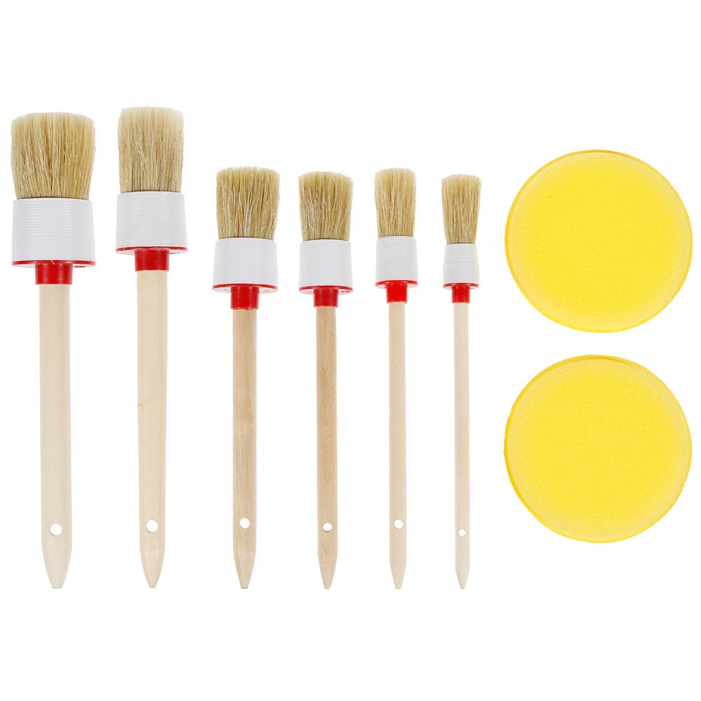 Anpro 6pcs Auto Detailing Brush Set with 2 Car Wax Sponge Pads for Cleaning Wheels, Interior, Exterior, Leather, Air Vents, Emblems