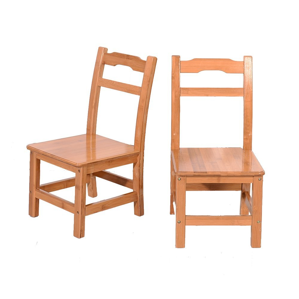 Solid Chairs, Set of 2 - Light Finish Furniture for Playroom, Bamboo Simple Children Chairs Sandal Wood Color Environmentally