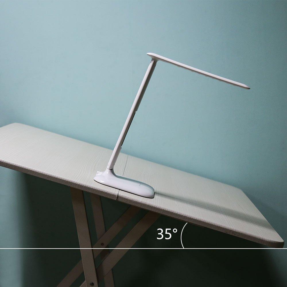 tourwin LED Lámpara de escritorio con reloj digital 3 colores Modo regulable Lámpara de mesa ojo Protección Ajustable Ligero Touch Control de aprendizaje ...
