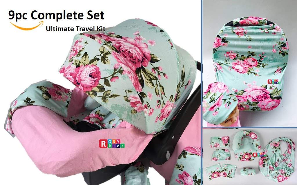 9pc Ultimate Set of Infant Car Seat Cover Canopy Headrest Blanket Hat Nursing Scarf, 25JE04