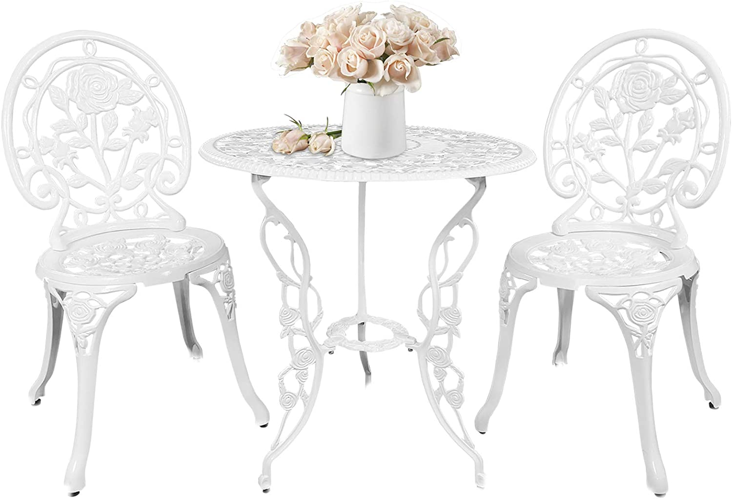 HOMEFUN Bistro Table Set, White Rose 3 Piece, Outdoor Patio Table and Chairs Furniture, Durable Rust Weather Resistance
