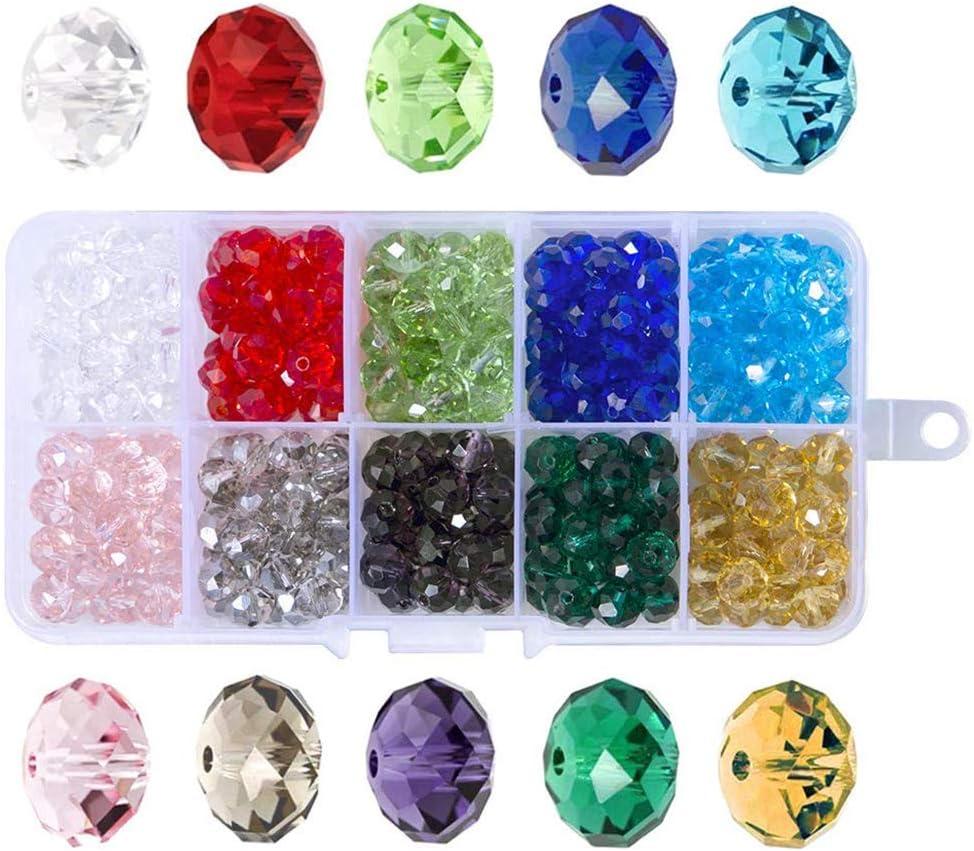 WOVELOT 300 Pcs Cuentas De Vidrio, 8Mm 10 Colores Perlas De Facetas Perlas De Cristal para La Fabricación De Joyas,Proyectos De Abalorios De DIY, Pulseras, Collares, Pendientes