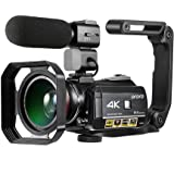 Videocamera 4K, ORDRO Ultra HD Touch Screen IPS da 3.1 Pollici WIFI Visione Notturna Zoom Digitale 30x Fotocamera, Microfono Esterno, Obiettivo Grandangolare, Cappuccio Lens e Stabilizzatore Palmare