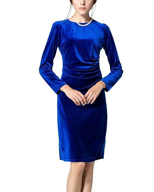 Minetom Mujer Primavera Verano Vestido de Manga Larga Elegante Midivestido Ajustado Terciopelo Vestido de Fiesta Azul
