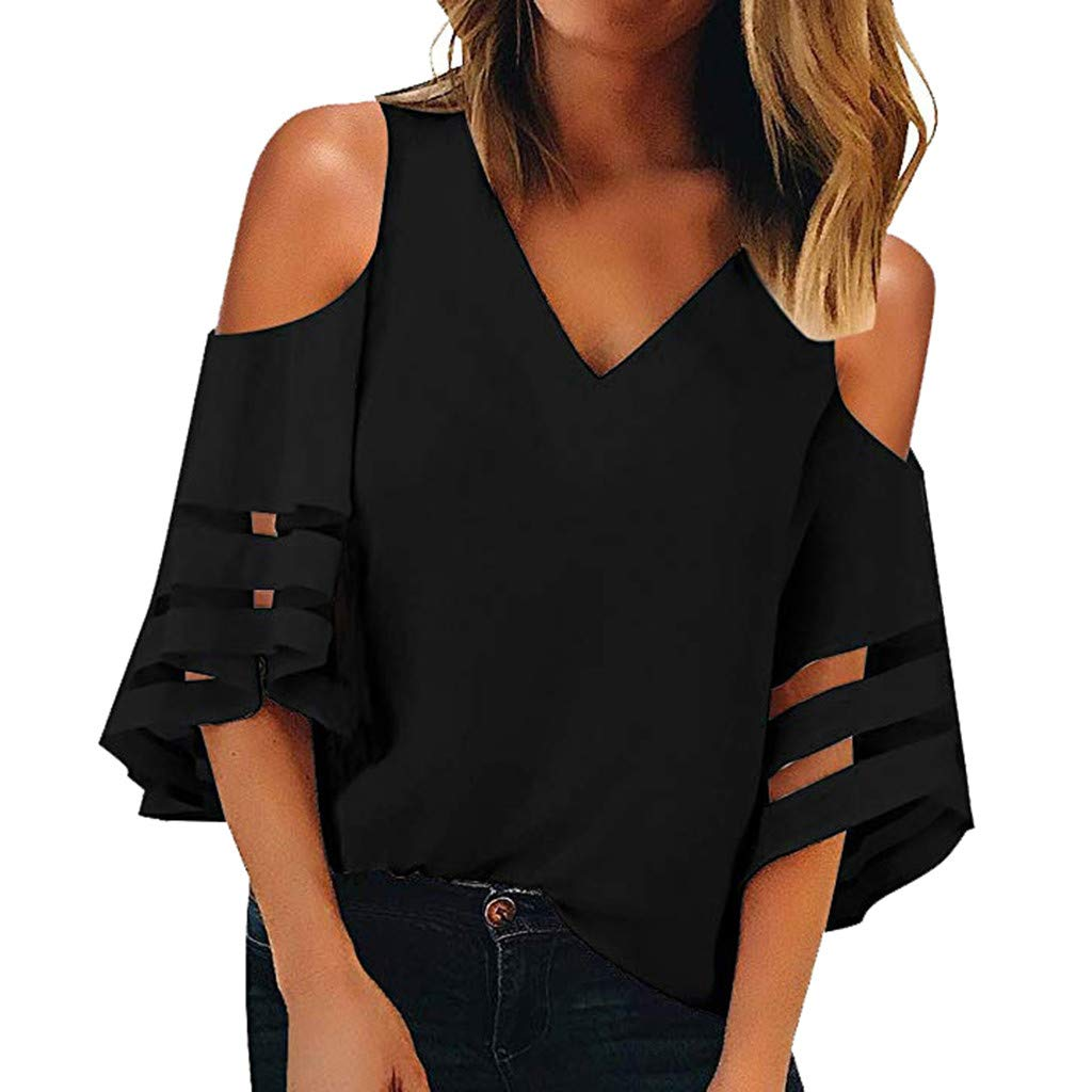 Women's Summer V Neck Mesh Panel Blouse 3/4 Bell Sleeve Causal Loose Top Shirts (Black, L)
