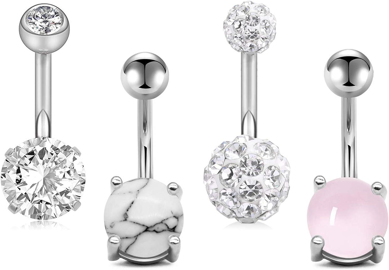 JFORYOU 4//6//8Pcs Belly Button Rings Stainless Steel 14G Faux Crystal CZ Navel Rings Barbells Studs Women Girls Body Piercing Bar Length 6mm 8mm 10mm