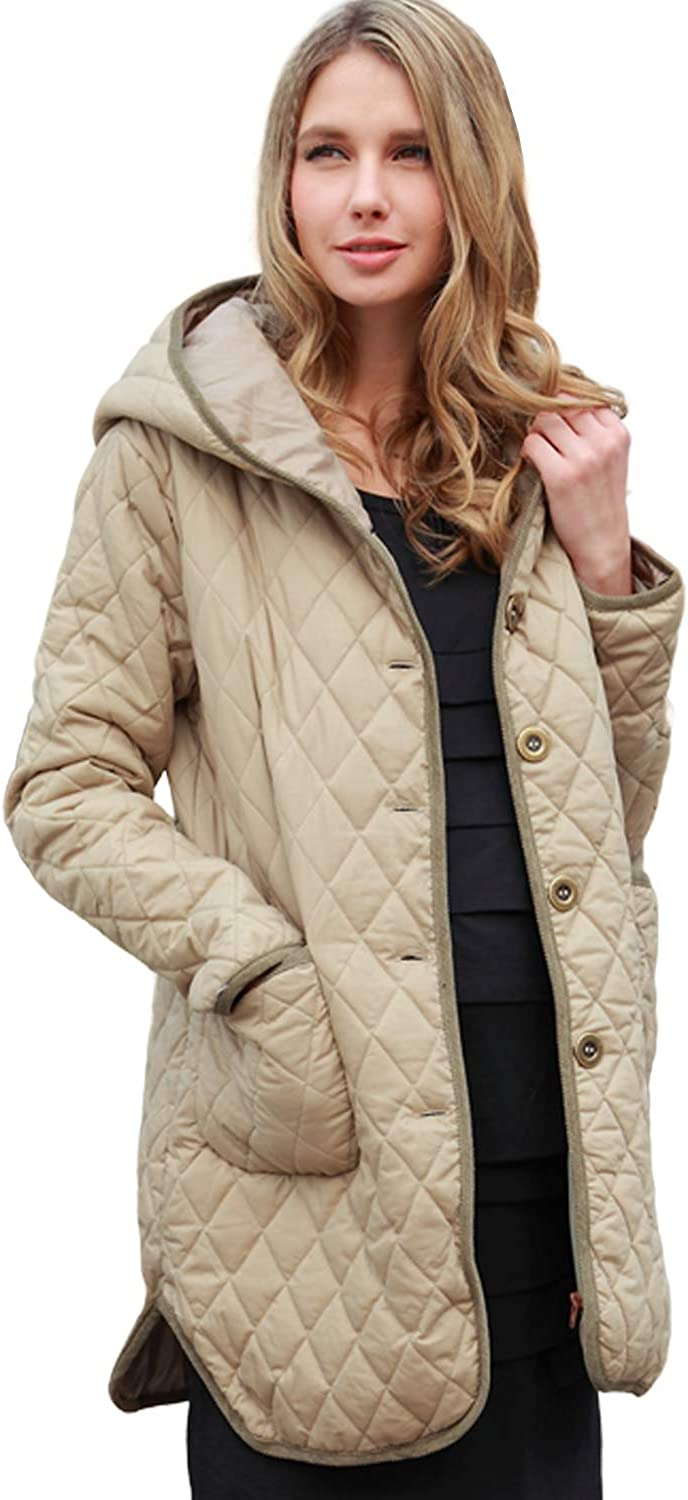 Sweet Mommy Maternity and Babywearing Quilted Parka Coat with Removable Panel