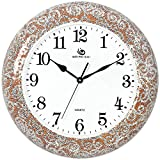 Jedfild The living room ideas personalized wall clock mute home decor clock, Brown Silver