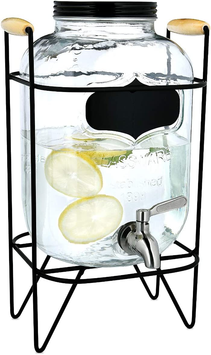 Navaris Drinks Dispenser with Tap and Stand - 1.3 Gallon (5L) Glass Drink Jar with Tap and Metal Wire Stand - For Hot or Cold Beverages, Ice Water
