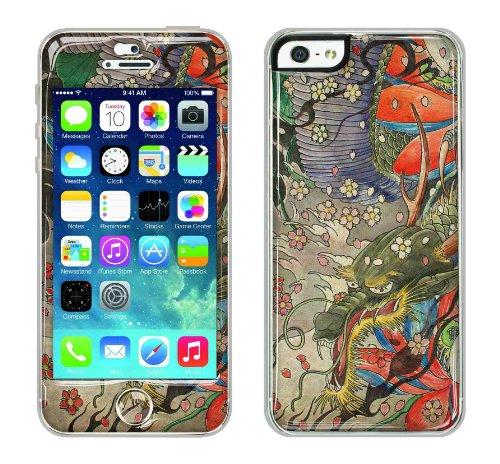 Flapsta iPhone5/5s Gel Case +Front Gel Skin/ Oriental Dragon