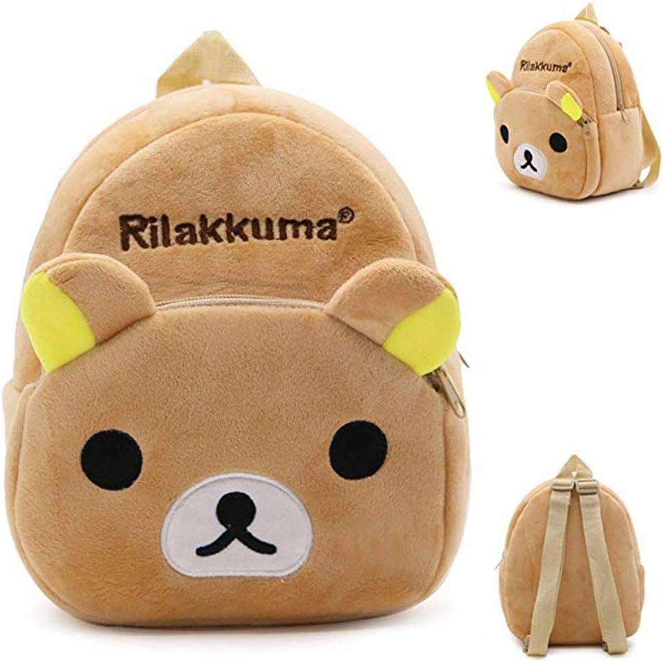 EOLIURR 1 PCS Kids Cute Grey Brown Bear Cartoon Animal Zipper Plush Children School Stationery Backpack Bag