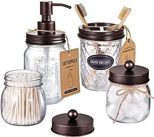 Amolliar Mason Jar Bathroom Accessories Set(4 Pcs) -Lotion Soap Dispenser & 2 Cotton Swab Holder &Toothbrush Holder-Rustic Farmhouse Decor,Countertop Vanity Organize,Bathroom Home Decor (Bronze)
