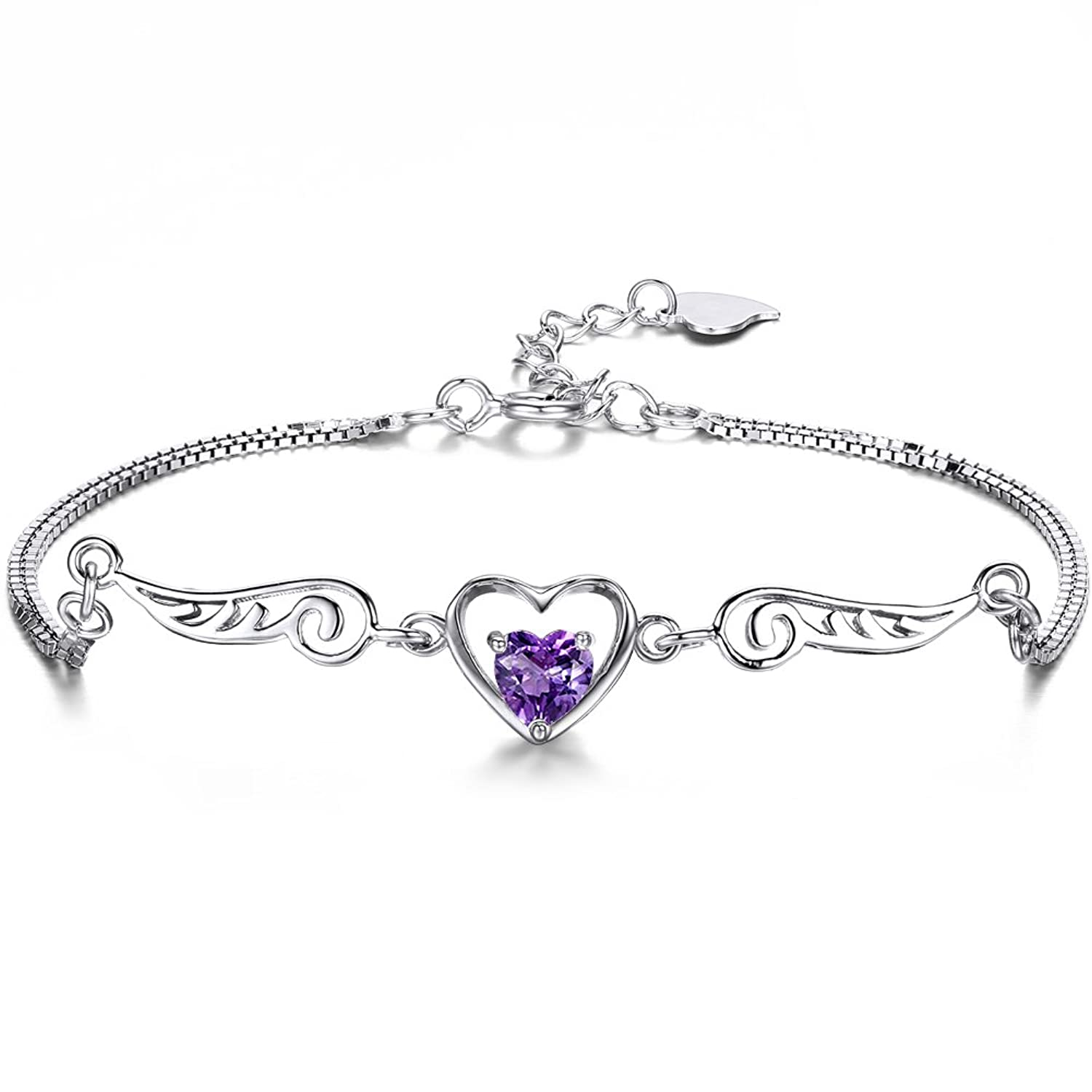 ZENI 925 Silver Women Bracelet Love Heart Angel Wings with 3A 5mm Cubic Zirconia, Exquisite Gift Package (Purple)♥Mother's Day Gifts♥