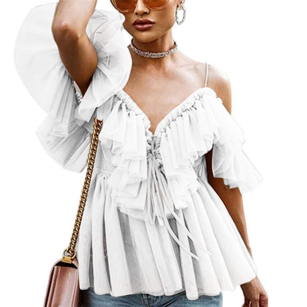 FELZ Sexy Camiseta de Manga Corta para Mujer Blusa de Tirantes con Cuello en V de Mujer Camisa de Color Liso con Volantes Verano Camisa de Hombro frío Original Tops de Playa