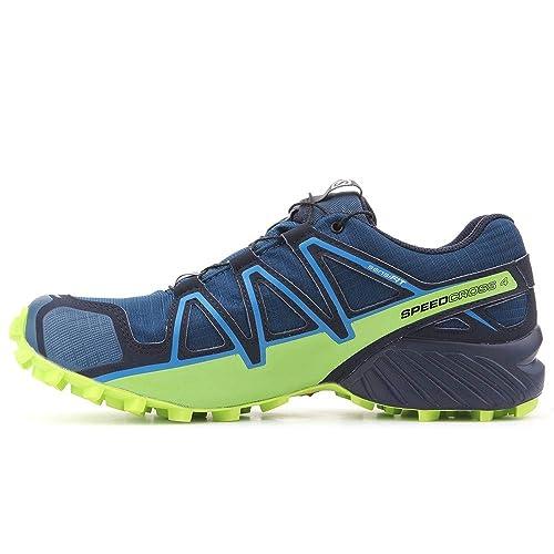 Salomon L40492300 - Zapatillas para Correr en montaña de Piel sintética para Hombre Azul Poseidon Navy Blazer Lime Green, Color, Talla 44: Amazon.es: ...