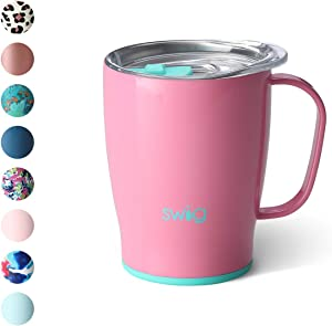 Swig Life 18oz Triple Insulated Travel Mug with Handle and Lid, Dishwasher Safe, Double Wall, and Vacuum Sealed Stainless Steel Coffee Mug in Peony Print (Multiple Patterns Available)