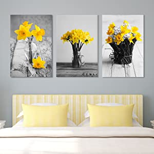 "wall26 - Yellow Flowers in Vases - Canvas Art Wall Art - 16""x24"" x 3 Panels"