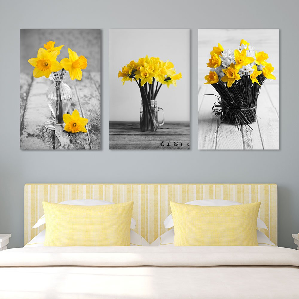 Yellow Flowers in Vases Wall Decor x 3 Panels - Canvas Art | Wall26