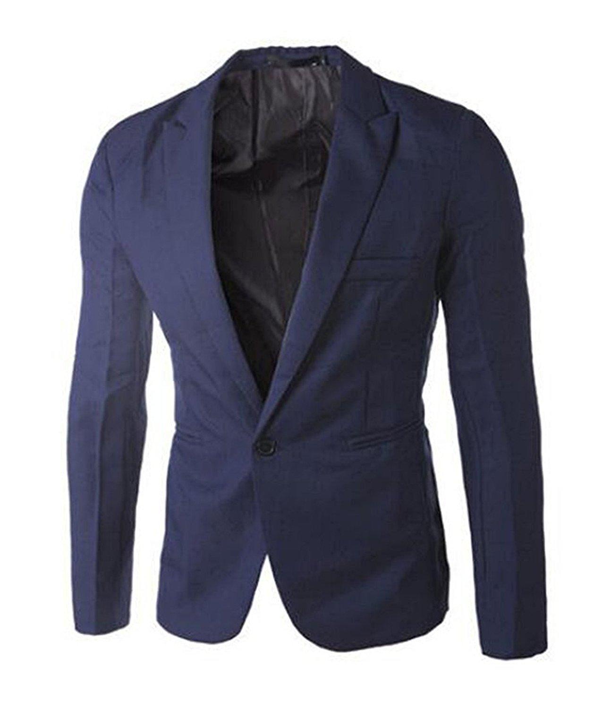 Shining4U Men's Fashion Dress Slim Fit One Button Blazer Jacket Navy BlueUS-XXS