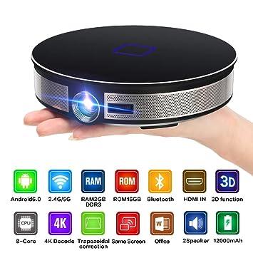 BESTSUGER Proyector de vídeo HD, 3D proyector Inteligente ...