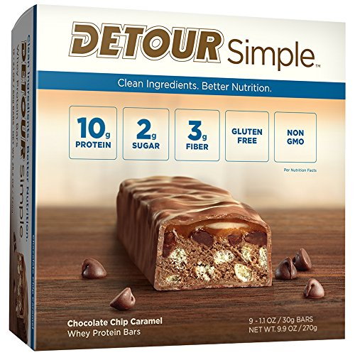 Detour Simple Whey Protein Bar, Chocolate Chip Caramel, 1.1 Ounce, 9 Count Caramel Chocolate Sugar