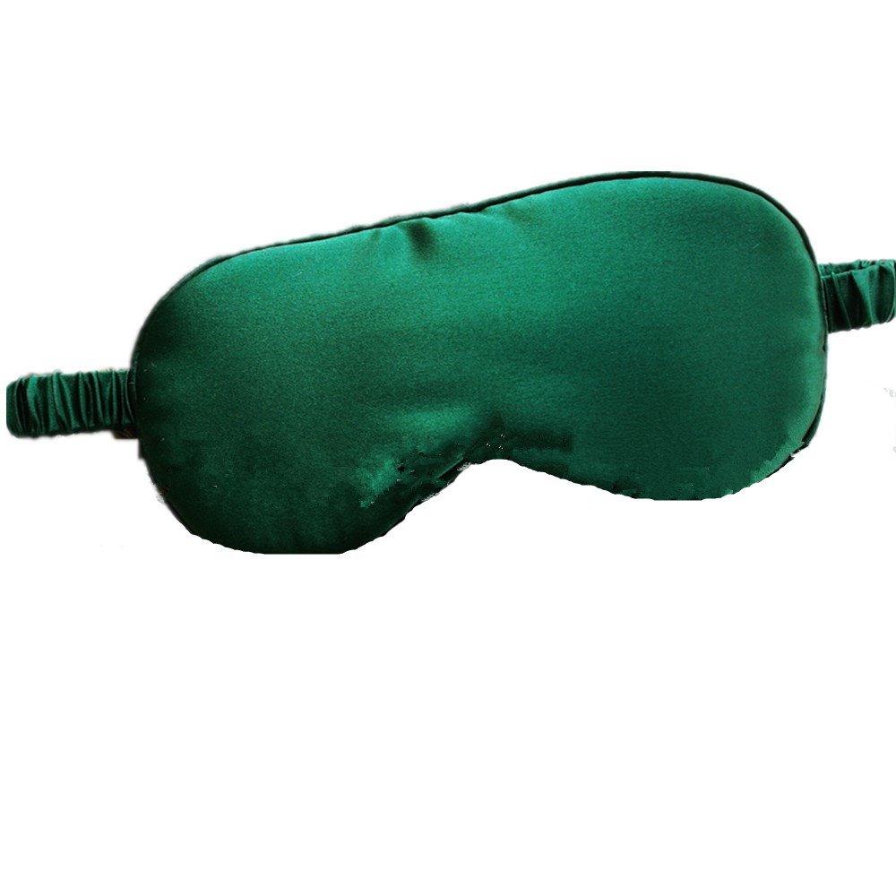 Sleep Mask 100% Silk Eye Mask Super-Smooth with Elastic Strap for Night Sleeping, Travel, Nap-Green