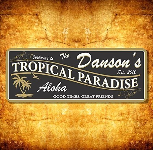 Amazon.com: Bar Custom Beach Sign Personalized Name Tropical Plaque ...