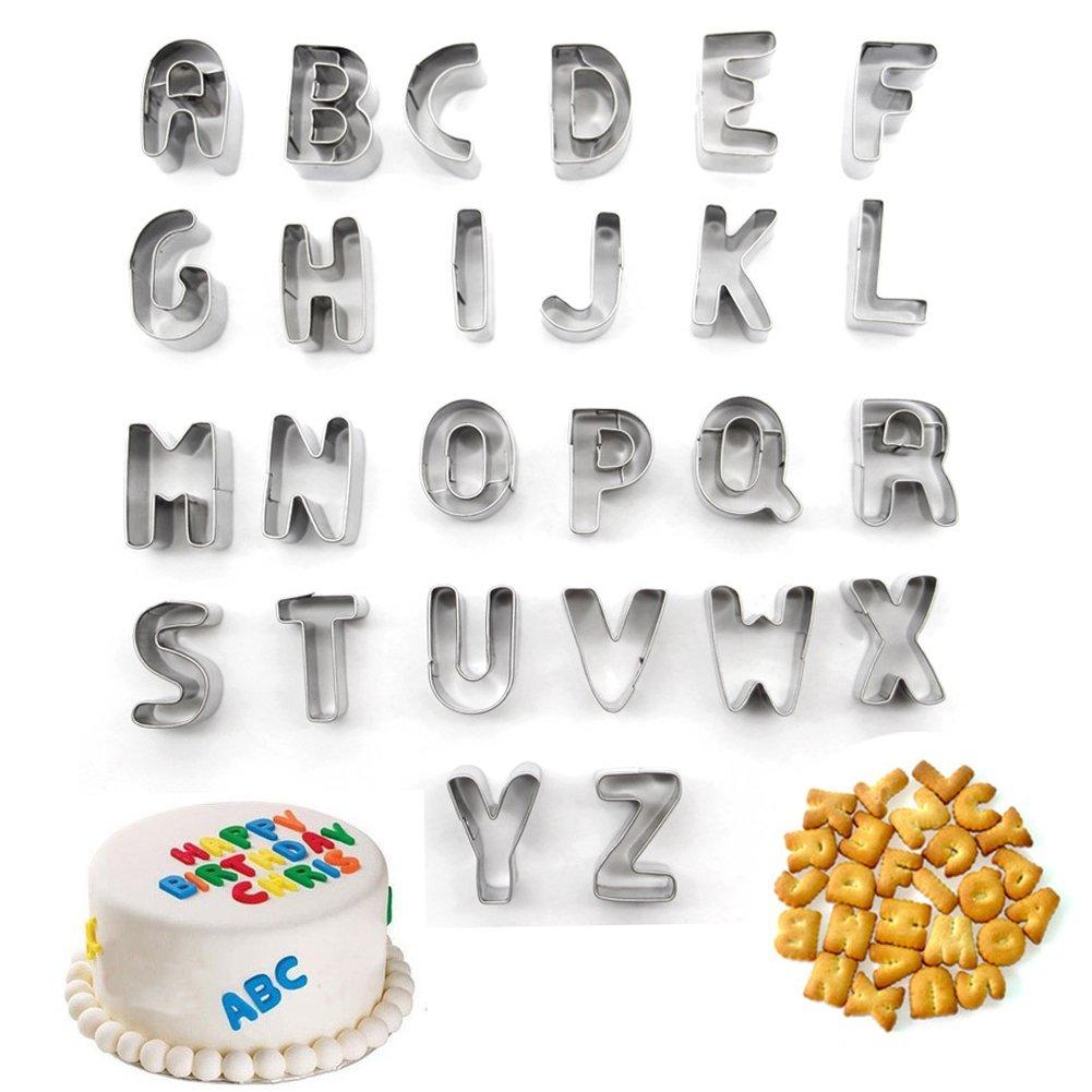 Alphabet Letter Pastry Fondant Icing Cutter Set 26 Piece ...
