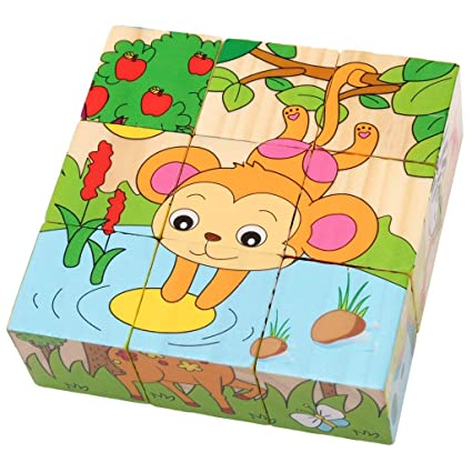 Trinkets & More - 3D 6 Face Animal Block Puzzle | 6 in 1 Wooden Cube Jigsaw Toys | 9 Pieces Early Education Boys Girls 3+ Years (Zoo Animals)