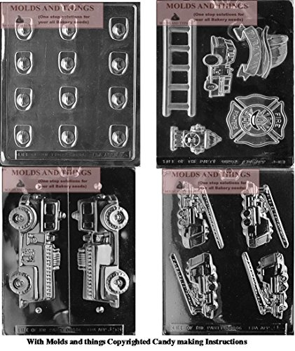 (FIREMAN'S HAT Chocolate Candy Mold,FIREMAN'S BADGE Chocolate Candy Mold,3D FIRE TRUCK Chocolate Candy Mold, FIREFIGHTER KIT Chocolate Candy Mold Copywrite molding instruction)