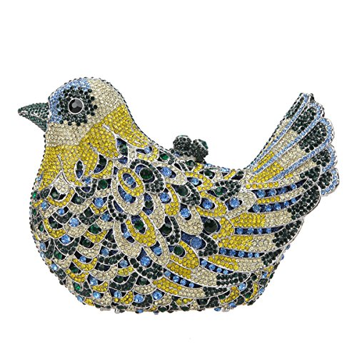 Glitter Green Girls Bag Evening Blue Bird Clutch For Purses Rhinestone Bonjanvye Dark dx8wqYPS