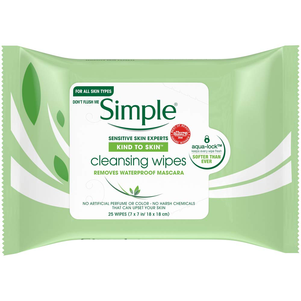 Simple Sensitive Skin Makeup Removing Cleansing Wipes No Harsh Chemicals 3 Packs of 25 Wipes: Beauty