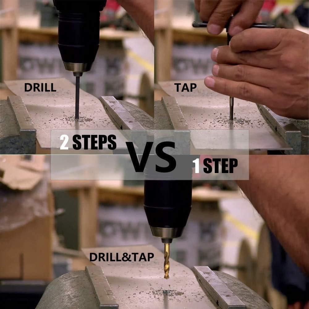 6 Pack Titanium Combination Drill Tap Bit Set Screw Tapping SAE 6-32NC 8-32NC 10-24NC 10-32NC 12-24NC 1//4-20NC