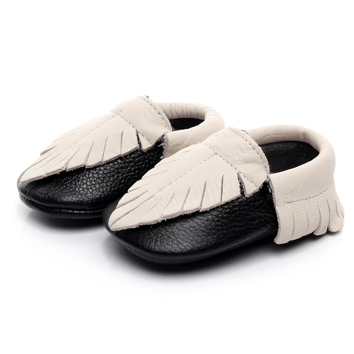 HONGTEYA Leather Baby Moccasins Baby Shoes Girl Soft Soled Anti-Slip Baby Sandals