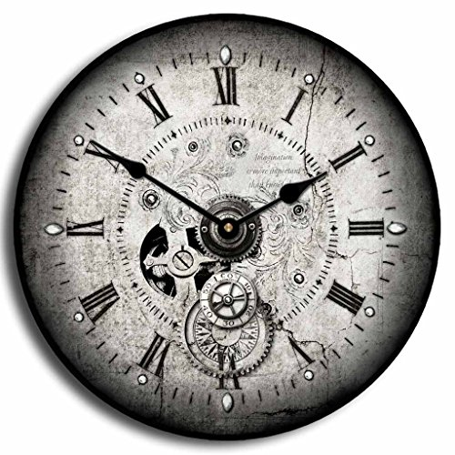 The Big Clock Store Steampunk Wall Clock, Available in 8 Sizes, Whisper Quiet, Non-Ticking