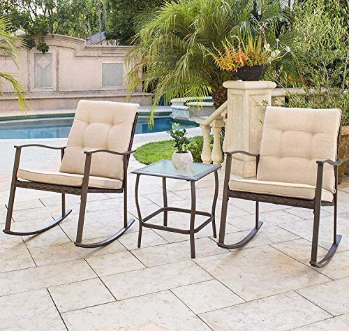 (Solaura Outdoor Furniture 3-Piece Rocking Wicker Bistro Set Brown Wicker with Beige Cushions - Two Chairs with Glass Coffee Table)