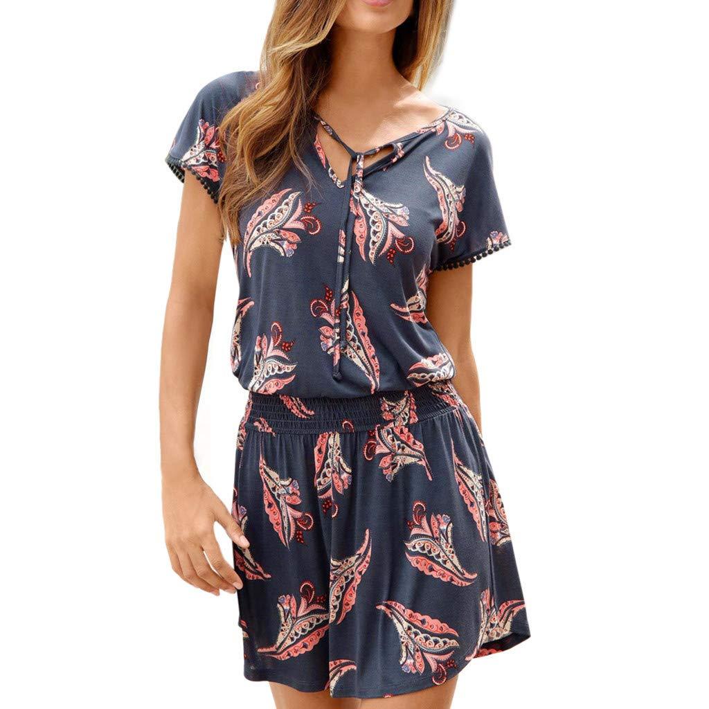 Lenfesh Bekleidung Damen Sommerkleid Blumendruck Kleid V-Ausschnitt Minikleid Kurze Ärmel Strandkleider Boho Sommer Kurzarm lässig Minikleid