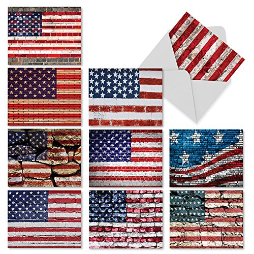 M2013 Flag Day: 10 Assorted Blank All-Occasion Notecards Feature a Stars and Stripes Motif, w/White Envelopes - Fold Over (Over Stationary)