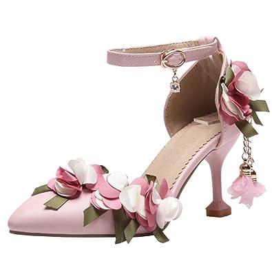 92f2c0400483 Atyche Damen Stiletto High Heels Sandalen mit Blumen und Schnalle Spitze  Riemchen Pumps Abend Schuhe