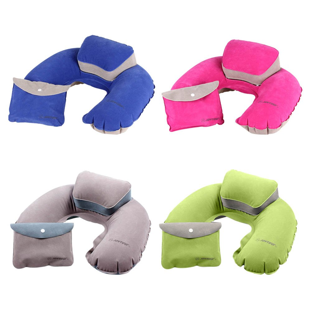 Portable Folding Travel Air Pillow Inflatable U Shape Neck Blow Up Cushion PVC Flocking Outdoor Camping Office Plane Hotel