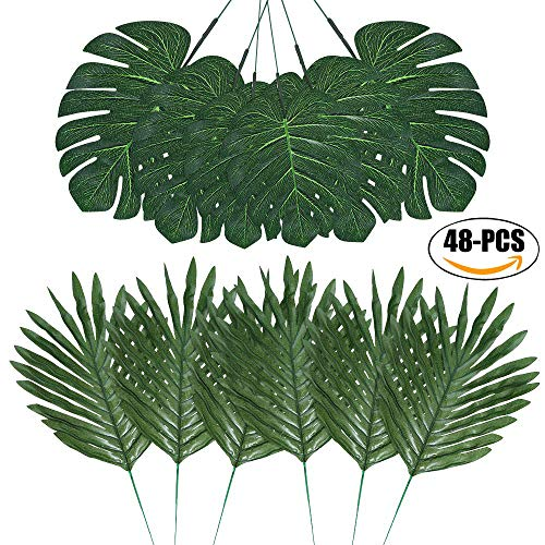 Warckon 48 PCS 4 Kinds Artificial Palm Leaves with Faux Stems Tropical Plant Leaves Monstera Leaves Safari Leaves for Hawaiian Wedding Luau Party Supplies Jungle Beach Table Leaves Decorations