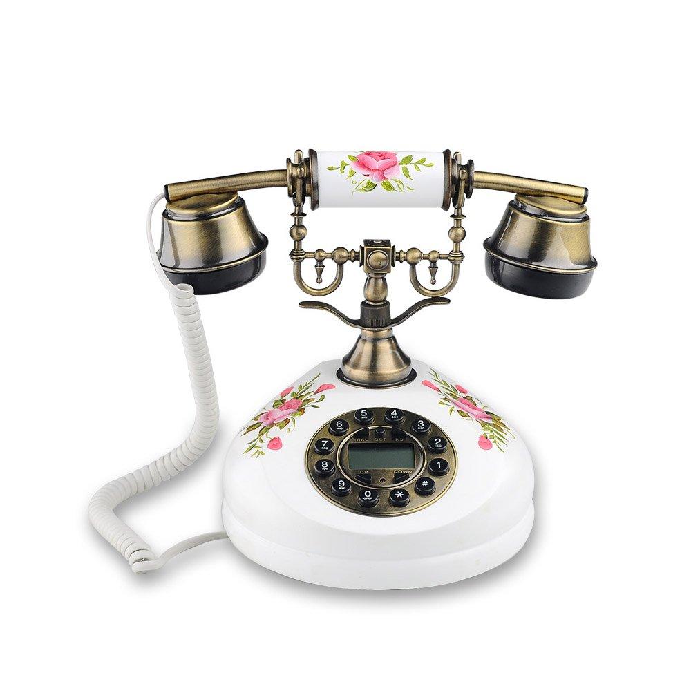 電話 レトロ/アンティーク/農家風/ソリッドウッド電話/キーダイヤル/メタルハンドセット、電子着メロ黄銅と木製のワイヤード電話(サイズ:17.5 * 21.5cm)固定電話 (色 : C) B07C4TDX1R C C