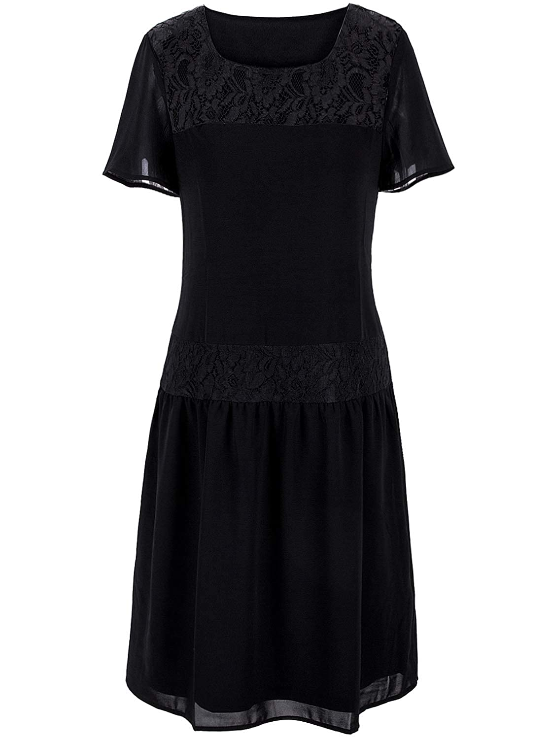 Black Flapper Dresses, 1920s Black Dresses VIJIV 1920s Inspired Flapper Dress High Tea Lace Short Sleeves Drop Waist Dress $34.99 AT vintagedancer.com