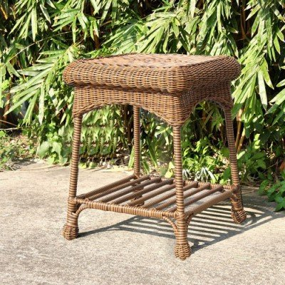 Jeco Wicker Patio End Table in Honey